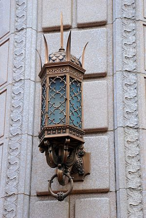 Bank of California Building (Portland, Oregon) - One of two bronze lanterns flanking the main entrance