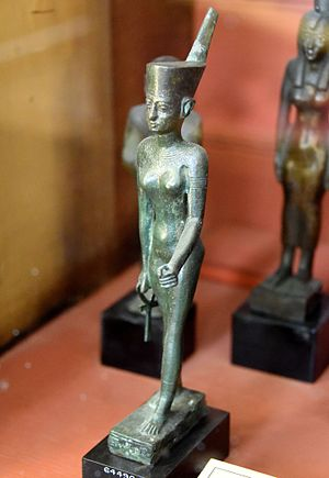 Neith - Bronze statuette of Neith, wearing the Red Crown of Lower Egypt; the hieroglyphic inscriptions, partially erased, mention the name of Padihor - Egypt, Late Period, The British Museum, London