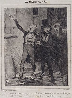 Charivari - Paris men sing a drunken serenade in Honoré Daumier's series of humorous cartoons, The Musicians of Paris
