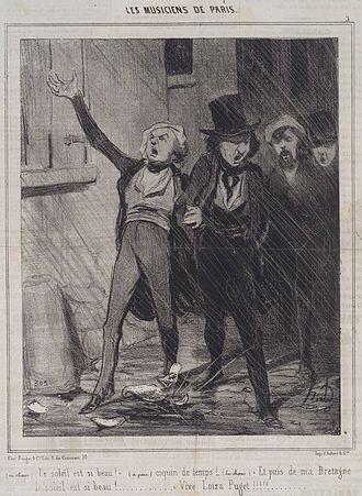 Charivari - Paris men sing a drunken serenade in Honoré Daumier's series of humorous cartoons, The Musicians of Paris