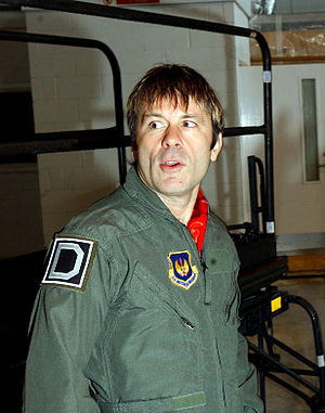 Bruce Dickinson - Bruce Dickinson in a flight suit while filming Flying Heavy Metal.