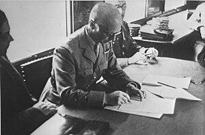 Charles Huntziger - General Charles Huntziger signs the armistice on behalf of France