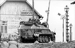 German occupation of Latvia during World War II - German army at Aiviekste railroad station