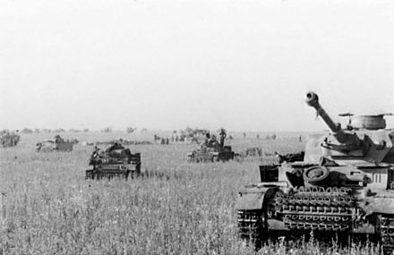 The Battle of Prokhorovka was one of the largest tank battles ever fought. It was part of the wider Battle of Kursk. Bundesarchiv Bild 101III-Merz-014-12A, Russland, Beginn Unternehmen Zitadelle, Panzer.jpg
