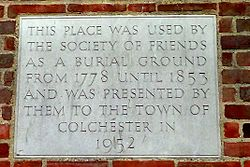 Photo of Society of Friends Burial Ground, Colchester grey plaque