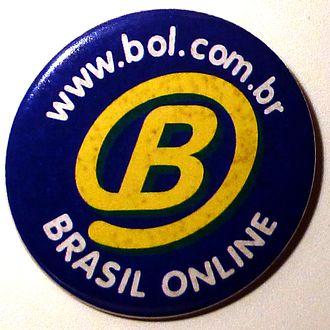 Brasil Online - Button promocional do Brasil Online, criado em 1996 com logomarca concebida pelo tipógrafo e designer Tony de Marco