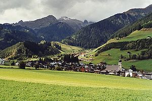 Disentis - Disentis town and church, showing settlement Clavaniev and Piz Ault in the background