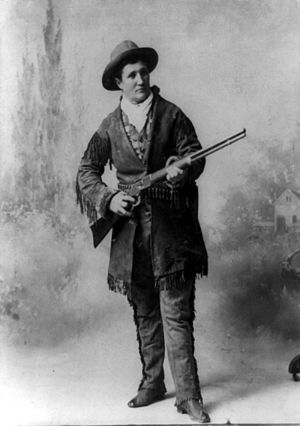 Gun politics in the United States - Calamity Jane, notable pioneer frontierswoman and scout, at age 43. Photo by H.R. Locke.