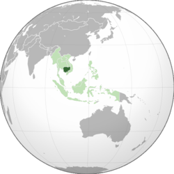 Location of Cambodia (dark green) in ASEAN (light green) and Asia.
