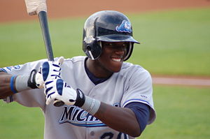 Batting helmet - Cameron Maybin wearing a batting helmet with earflaps