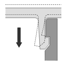 Illustration of two objects joining together via cantilevered snap-fit.