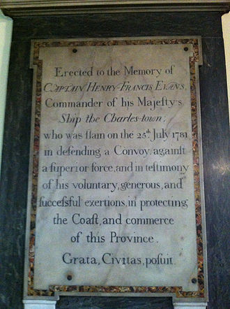 Action of 21 July 1781 - Capt Henry Francis Evans Memorial, St. Paul's Church (Halifax), Nova Scotia