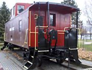 "The CPR caboose or ""van"" donated to Brockville by the Canadian Pacific Railway for display. It is located near the Railway Tunnel."