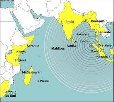 Localisation de l'épicentre du tsunami de 2004