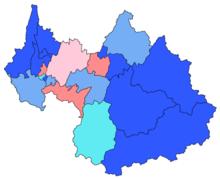 Carte des cantons de la Savoie par nuance politique du binôme arrivé en tête à l'issue des élections de 2015