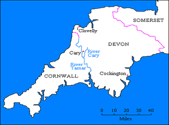 Manor of Clovelly - Seats of the Cary family in Devon: Cary, in the parish of St Giles in the Heath, next to the River Cary; Clovelly and Cockington, the latter both purchased by Sir John Cary (died 1395), Chief Baron of the Exchequer and Member of Parliament for Devon