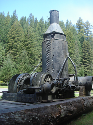 Steam donkey - Willamette Steam donkey preserved at Caspar Lumber Company Camp 20 adjacent to California State Route 20.