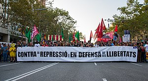 2017 Spanish constitutional crisis - Demonstration in Barcelona during the general strike held in Catalonia on 3 October 2017.