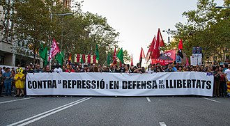 2017–18 Spanish constitutional crisis - Demonstration in Barcelona during the general strike held in Catalonia on 3 October 2017.