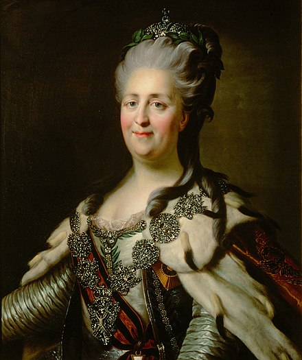 Empress Catherine the Great, who reigned from 1762 to 1796, continued the empire's expansion and modernization. Considering herself an enlightened absolutist, she played a key role in the Russian Enlightenment. Catherine II by J.B.Lampi (1780s, Kunsthistorisches Museum).jpg