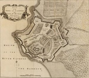Portuguese conquest of French Guiana - Map of the fortifications at Cayenne, made in 1760