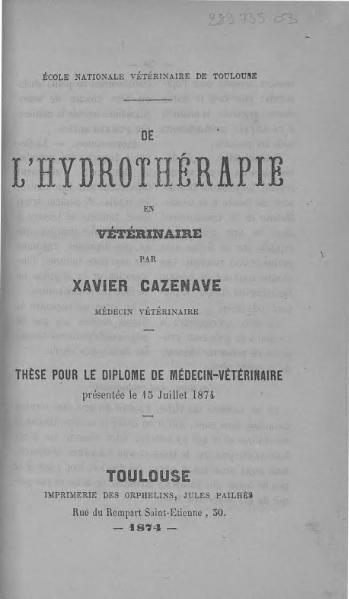 File:Cazenave - De l'hydrothérapie en vétérinaire.djvu