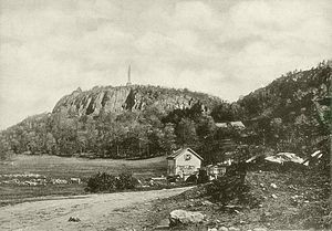 Cedar Hill (New Haven) - View of East Rock and Indian Head from Cedar Hill Area (now Rice Field), 1898. Note the cedar trees in the background.