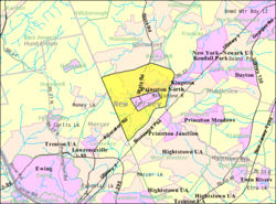 Census Bureau map of the former Princeton Township (and enclaved Borough in pink), New Jersey Interactive map of Princeton, New Jersey
