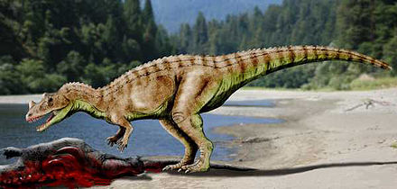 Life reconstruction of a feeding Ceratosaurus