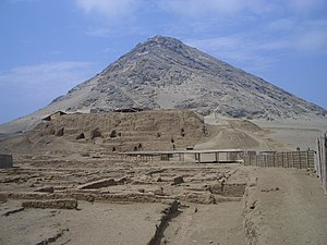 Huaca de la Luna - A view of the Huaca de la Luna, with Cerro Blanco in the background.