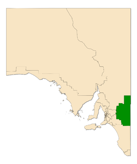 Map of South Australia with the electoral district of Chaffey highlighted