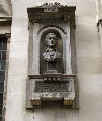 Charles Lamb - Monument to Charles Lamb at Watch House on Giltspur Street, London