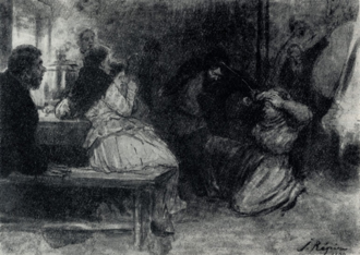 Peasants (short story) - They heard a drunken cough, and a tall, black-bearded peasant wearing a winter cap came into the hut, and was the more terrible because his face could not be seen in the dim light of the little lamp. It was Kiryak. Going up to his wife, he swung his arm and punched her in the face with his fist. Stunned by the blow, she did not utter a sound, but sat down, and her nose instantly began bleeding. Ilya Repin's illustration for the 1899 French edition