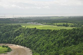 Chepstow Racecourse - The racecourse as seen from the Wyndcliff, with the Severn Bridge in the background.