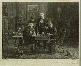 The Chess Players (Eakins painting) - Image: Chess Players engraving (cropped)