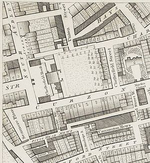 Chesterfield House, Westminster - Chesterfield House as shown on Richard Horwood's 1799 map of London