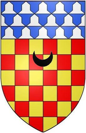Arthur Chichester, 1st Earl of Donegall - Arms of Chichester of Eggesford: Chequy or and gules, a chief vair a crescent sable for difference