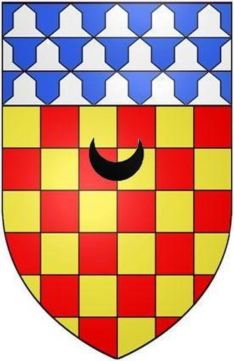 Eggesford - Arms of Chichester of Eggesford: Chequy or and gules, a chief vair a crescent sable for difference. The crescent is a cadency mark of a second son