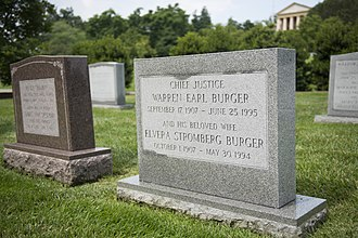 Warren E. Burger - Interred Next To His Wife At Arlington National Cemetery