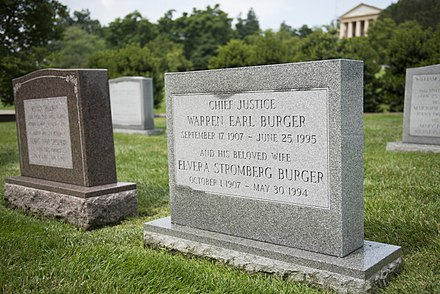 Burger's tombstone, next to his wife's, at Arlington National Cemetery Chief Justice Warren E. Burger (18678489024).jpg