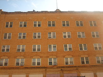Childress, Texas - The large Childress Hotel operates with limited clientele.