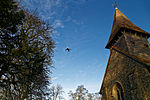 Church of St Mary Broxted Essex, England - aircraft and tower 2.jpg