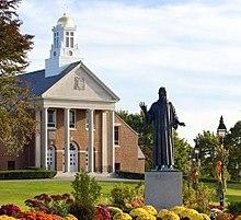 Church statue Merrimack Colleges Church.JPG