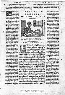 Früher Druck von Ciceros Epistulae ad familiares (Venedig 1547) mit humanistischen Kommentaren (Quelle: Wikimedia)