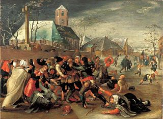 Peasants fighting a pilgrim.