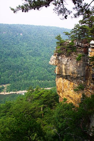New River Gorge National River - Section of the cliff at Endless Wall in New River Gorge