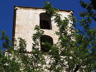 Thoard - The bell tower of the church of Our Lady of Bethlehem, in Thoard