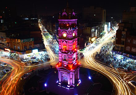 Clock Tower, Faisalabad built by British Government in 19th Century Clock Tower Faisalabad by Usman Nadeem.jpg