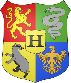 Coat of arms of Hogwarts, the fictional school...