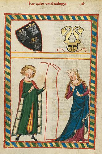 Meinloh von Sevelingen - The miniature of Meinloh von Sevelingen in the Codex Manesse